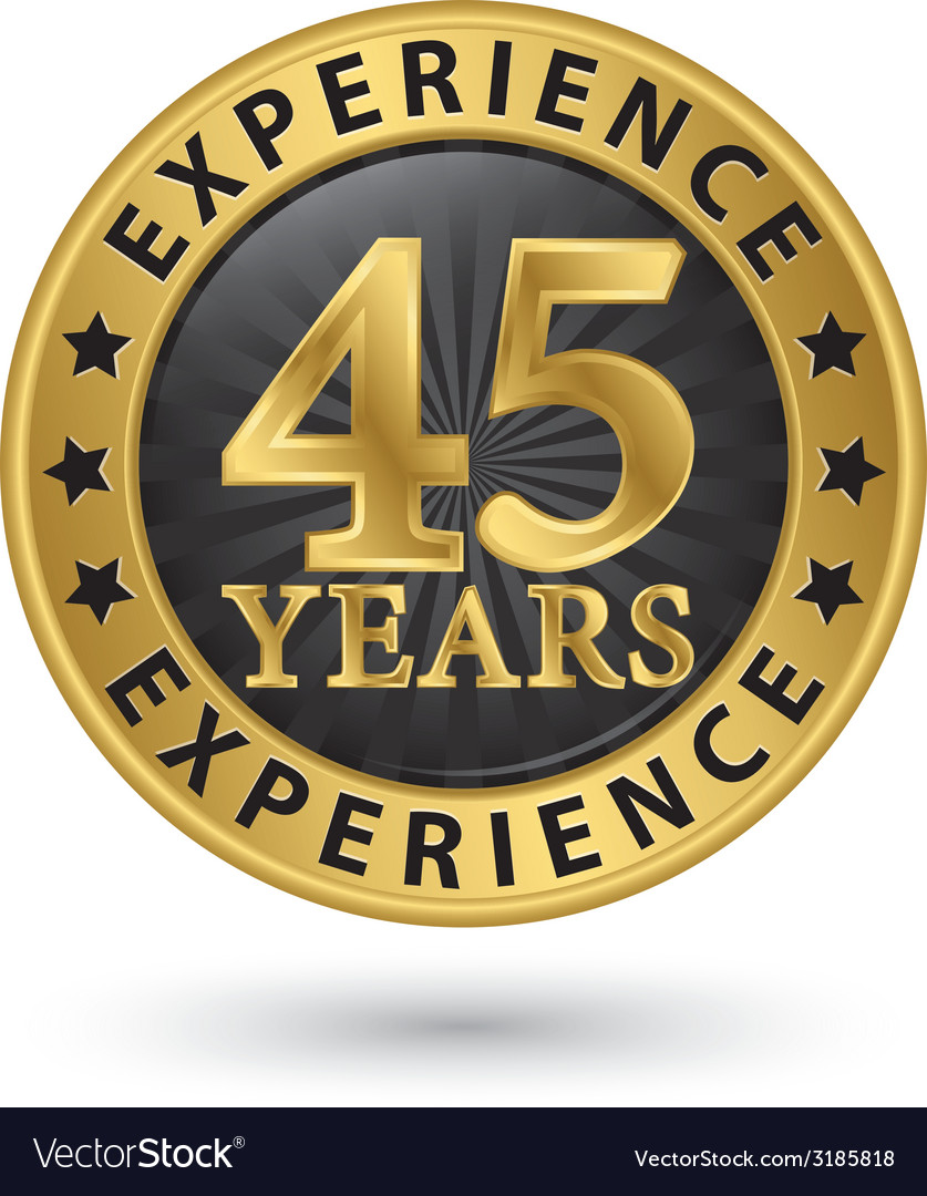 45 years experience gold label vector | Price: 1 Credit (USD $1)