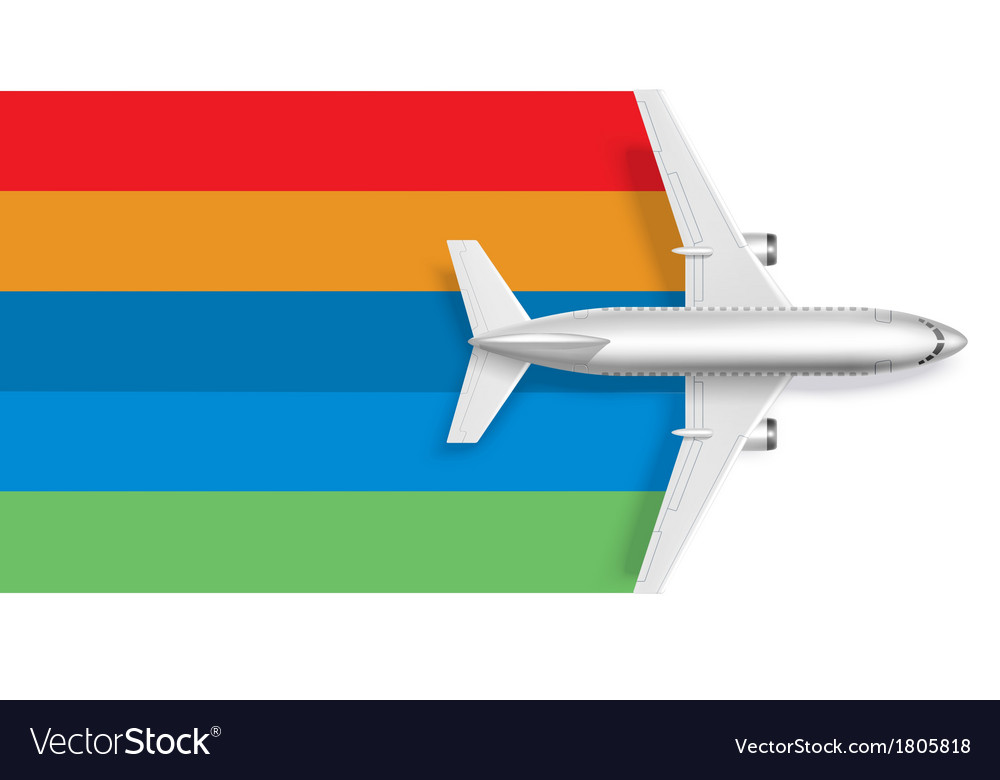 Airplane with blank rainbow for message text vector | Price: 1 Credit (USD $1)