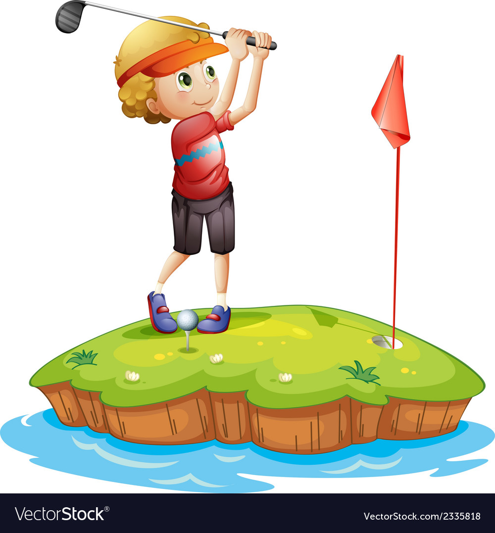 An island with a boy playing golf vector | Price: 3 Credit (USD $3)