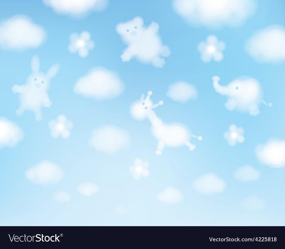 Cute sky clouds cartoons vector | Price: 1 Credit (USD $1)