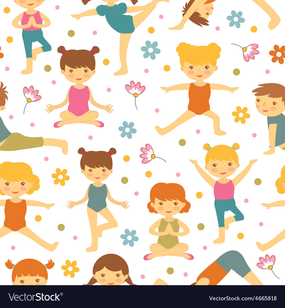 Cute yoga kids seamless pattern vector | Price: 1 Credit (USD $1)