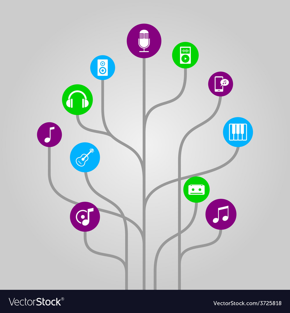 Icon tree - music media and audio vector | Price: 1 Credit (USD $1)