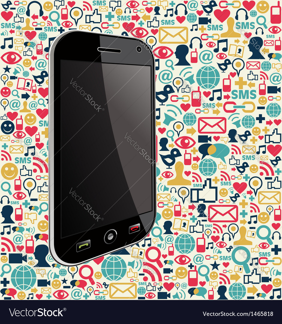 Iphone social media icon background vector | Price: 1 Credit (USD $1)