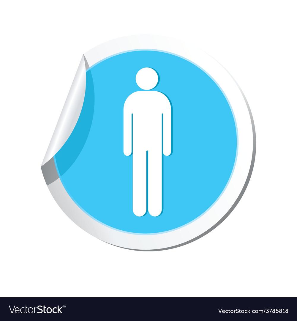 Man blue label vector | Price: 1 Credit (USD $1)