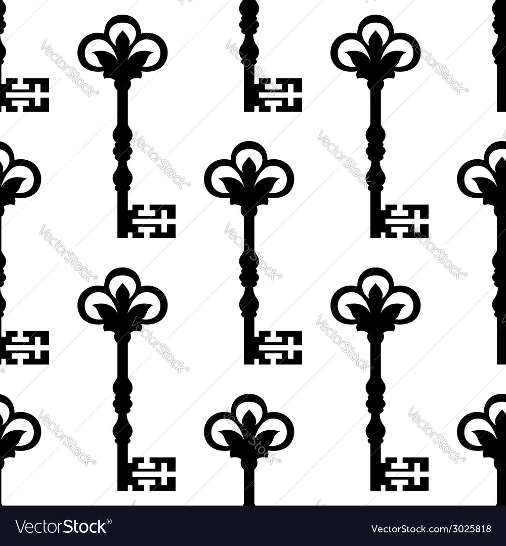 Old antique key seamless background pattern vector | Price: 1 Credit (USD $1)