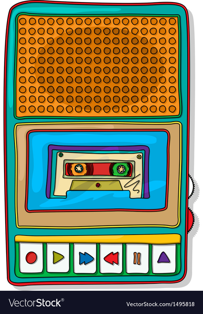 Pop art audio tape recorder vector | Price: 1 Credit (USD $1)