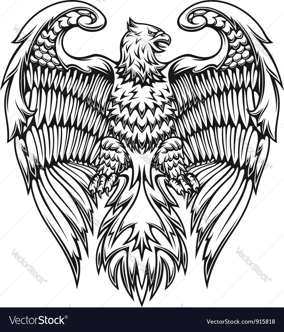 Powerful eagle or griffin vector