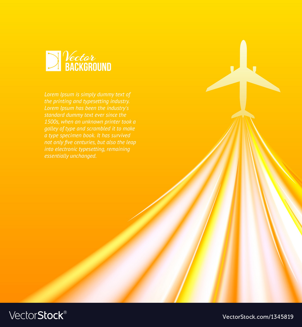 Airplane over orange background vector | Price: 1 Credit (USD $1)