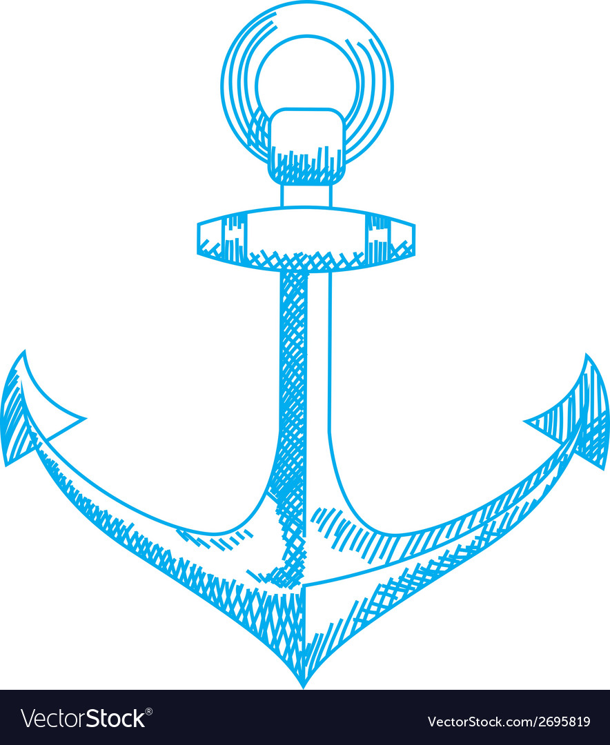 Anchor icon nautical isolated white blue vector | Price: 1 Credit (USD $1)