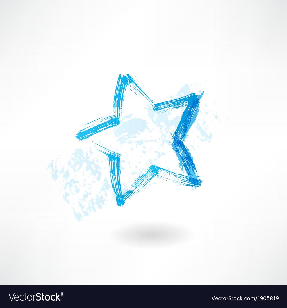 Blue star grunge icon vector | Price: 1 Credit (USD $1)