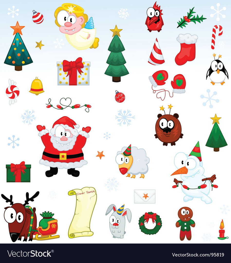 Christmas symbols collection vector | Price: 1 Credit (USD $1)