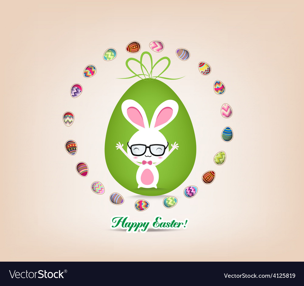 Easter bunny surrounded by eggs vector | Price: 1 Credit (USD $1)