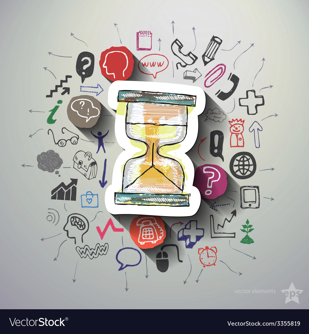 Hourglass collage with icons background vector
