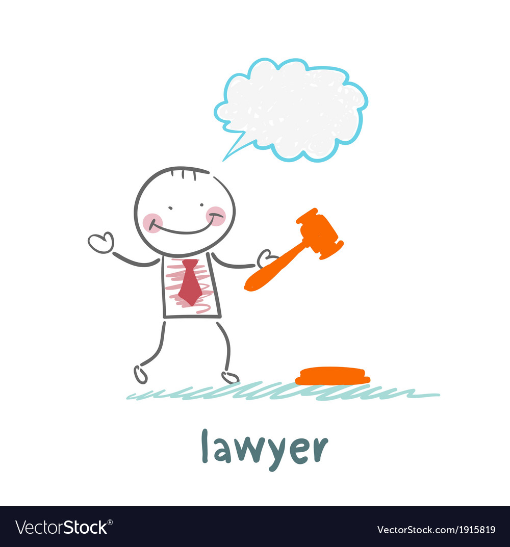 Lawyer knocking hammer and thinks vector | Price: 1 Credit (USD $1)
