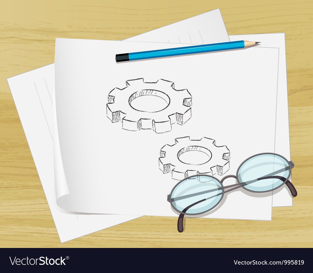 Planning cogs paper vector | Price: 1 Credit (USD $1)