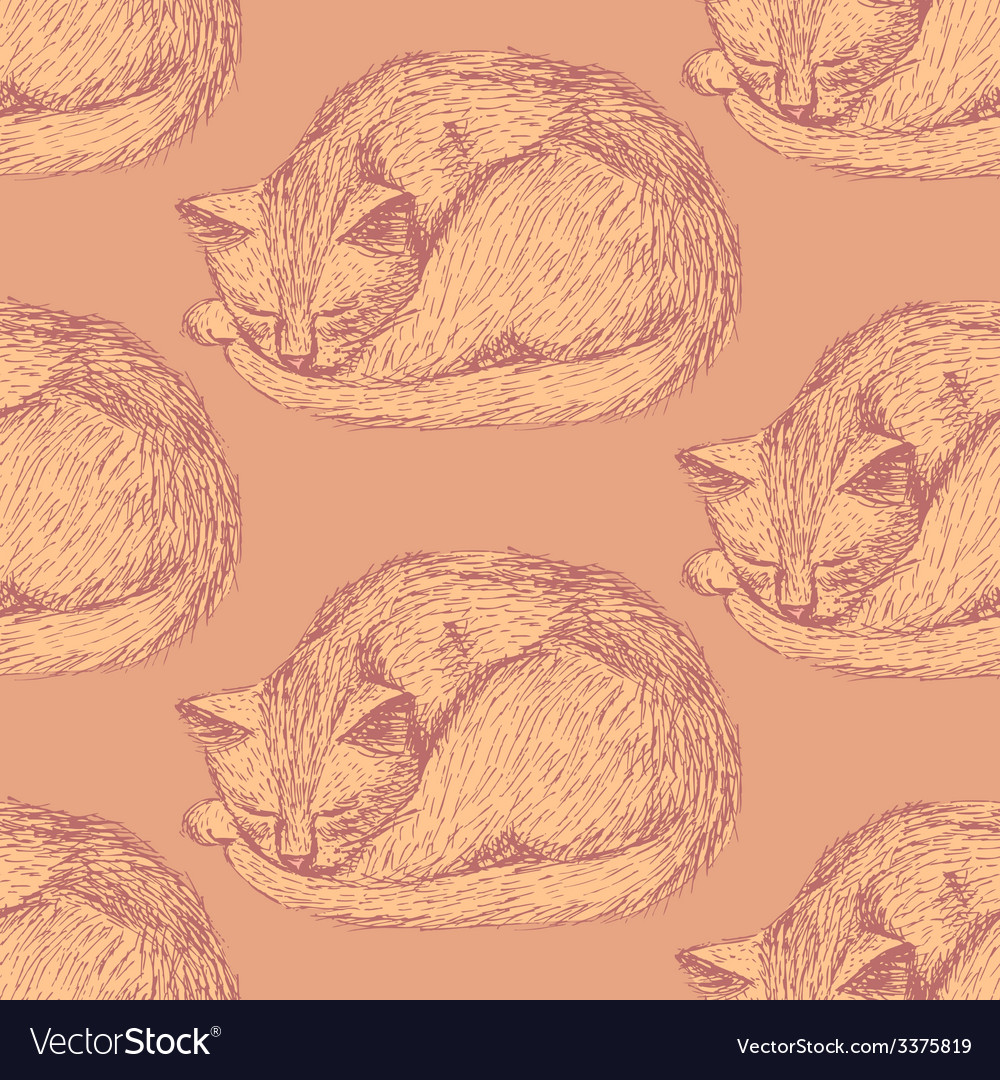 Sketch sleeping cat in vintage style vector   Price: 1 Credit (USD $1)