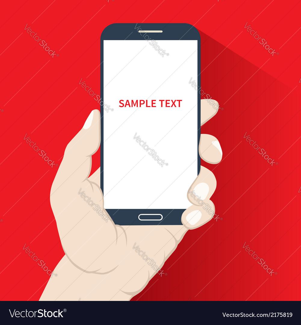 Smartphone in hand flat design vector | Price: 1 Credit (USD $1)