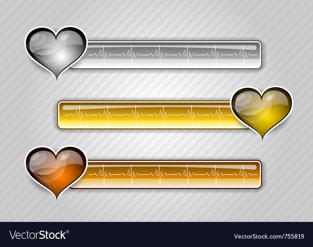 Three ekg buttons with hearts vector | Price: 1 Credit (USD $1)