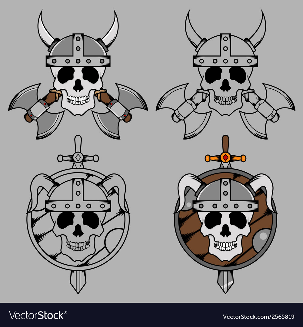 Viking skull mascot vector | Price: 1 Credit (USD $1)
