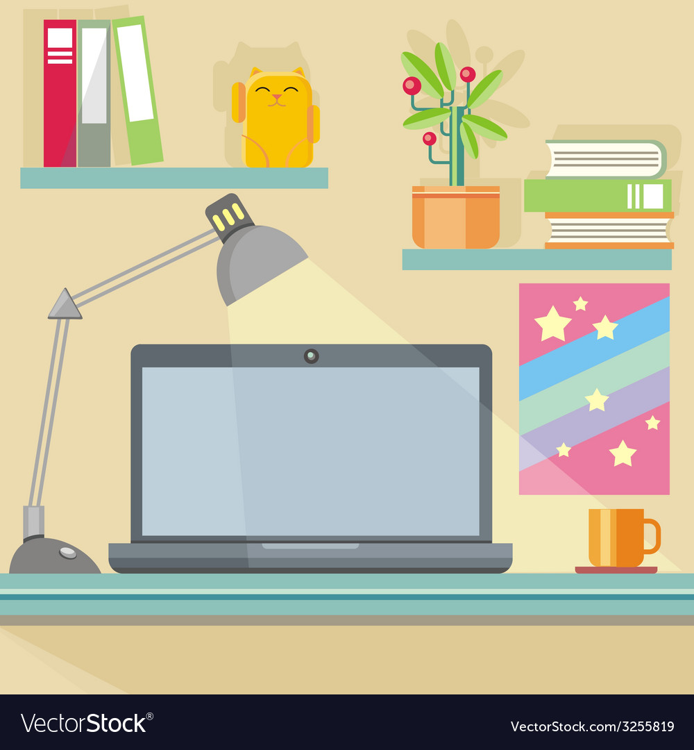 Workplace with notebook lamp books and furniture vector | Price: 1 Credit (USD $1)