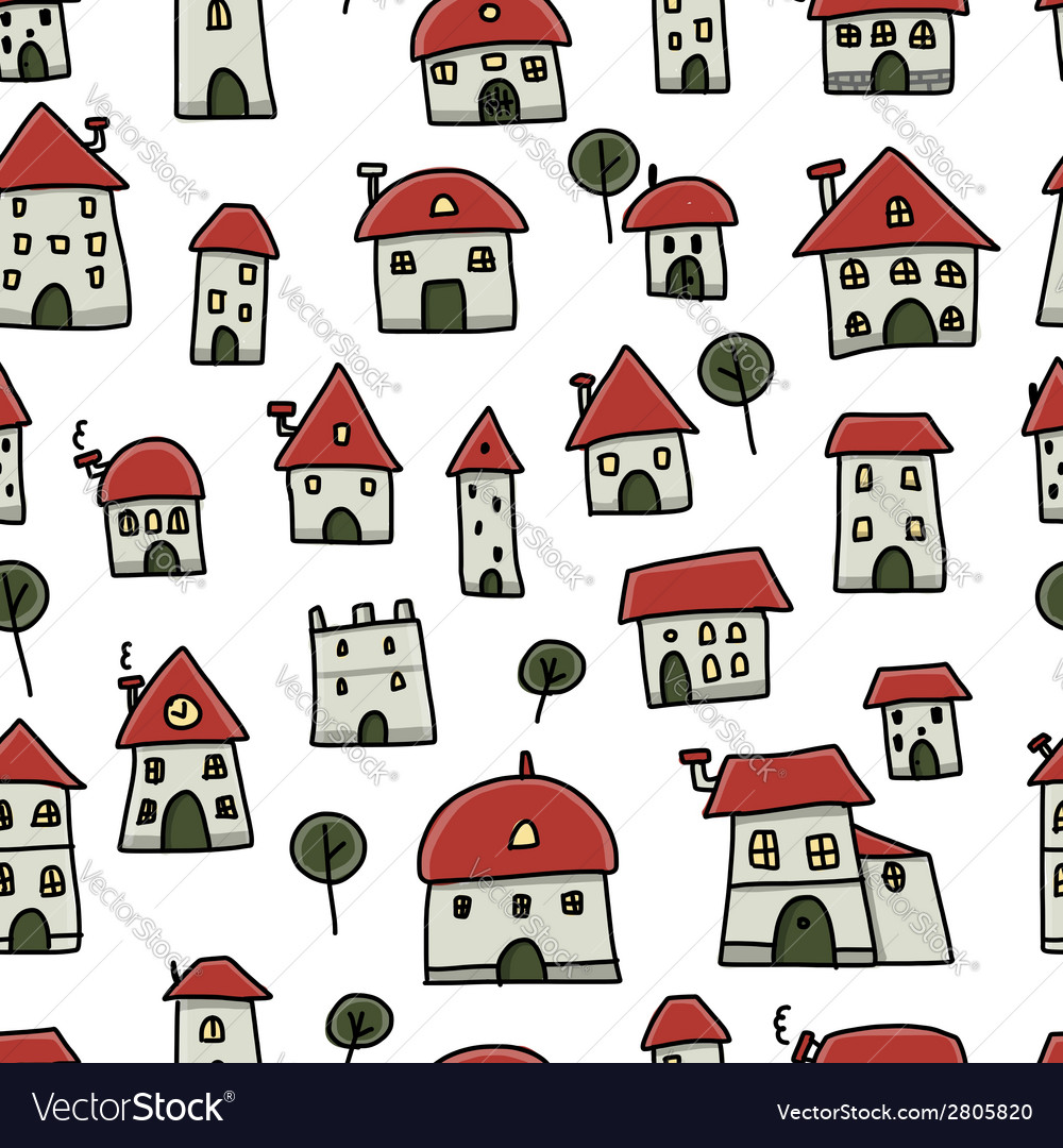 City sketch seamless pattern for your design vector | Price: 1 Credit (USD $1)