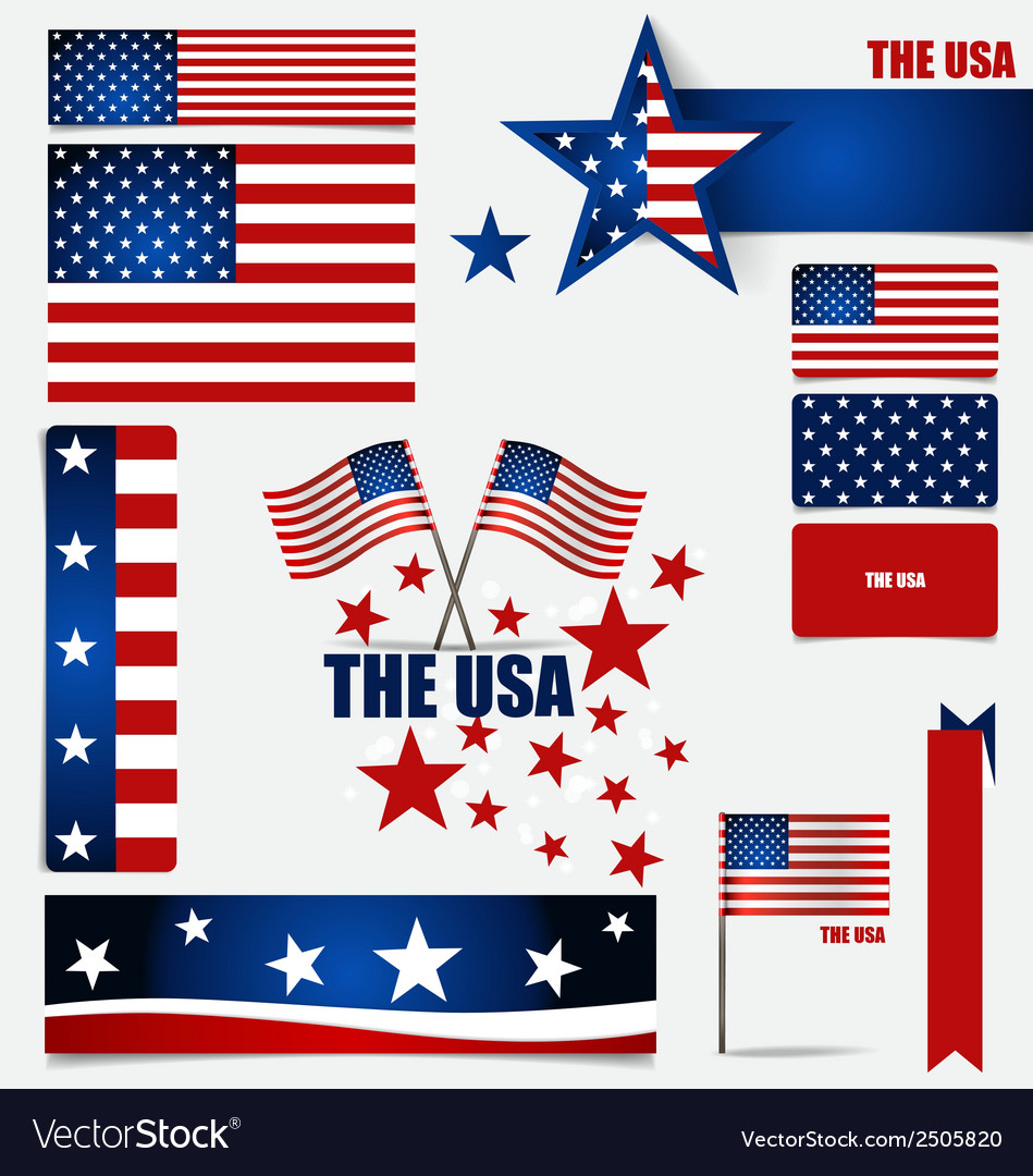Collection of american flags flags concept design vector