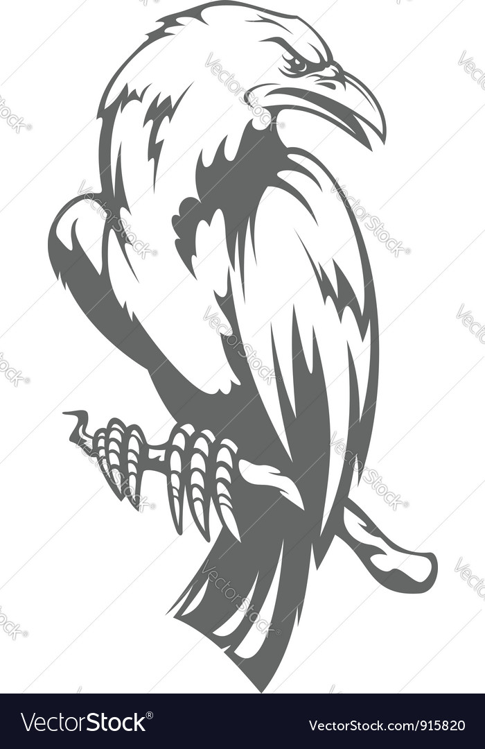 Dark raven on the branch vector | Price: 1 Credit (USD $1)