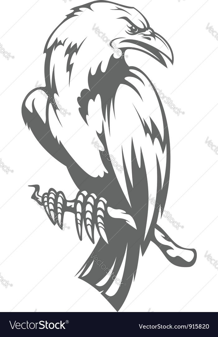 Dark raven on the branch vector   Price: 1 Credit (USD $1)