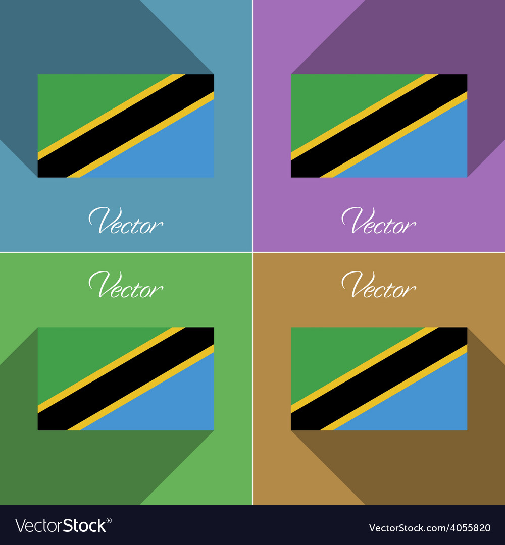 Flags tanzania set of colors flat design and long vector | Price: 1 Credit (USD $1)