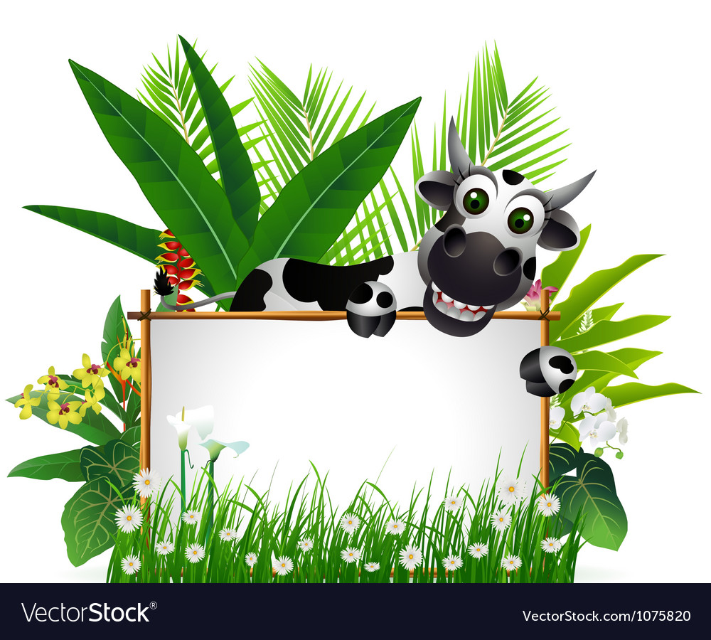 Funny cow with blank sign vector | Price: 3 Credit (USD $3)