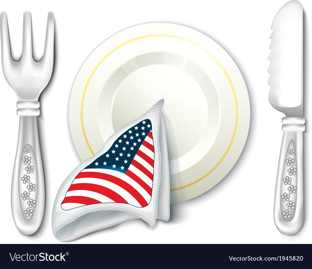 Plate fork knife with usa flag vector | Price: 1 Credit (USD $1)