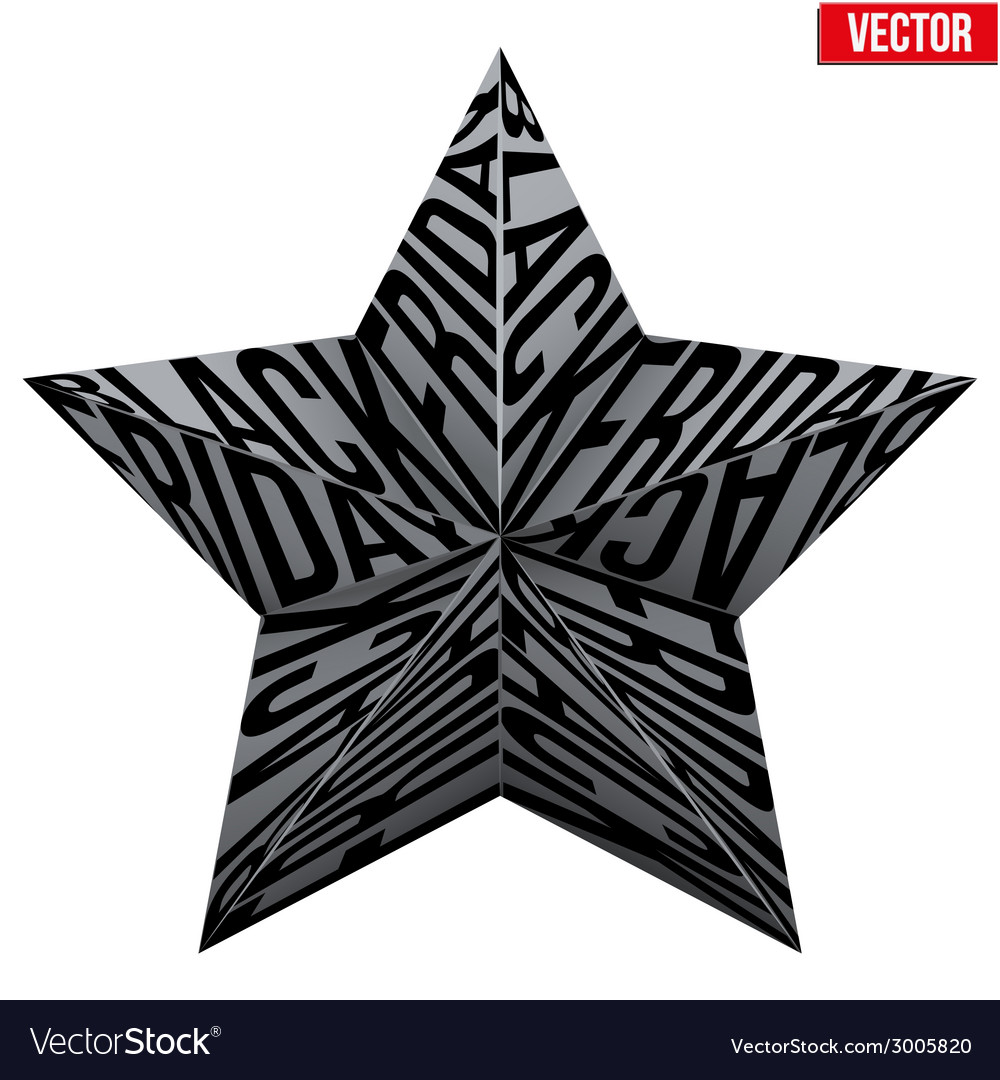 Star symbol with letters black friday sales tag vector | Price: 1 Credit (USD $1)