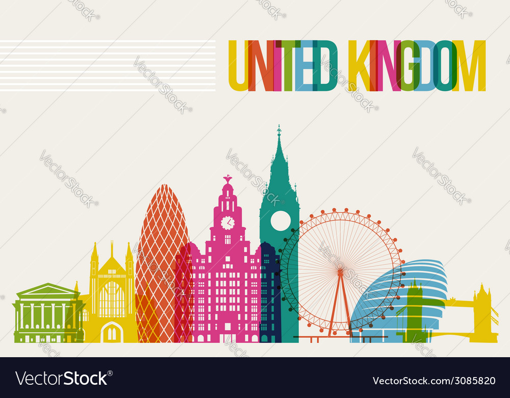 Travel united kingdom destination landmarks vector | Price: 1 Credit (USD $1)