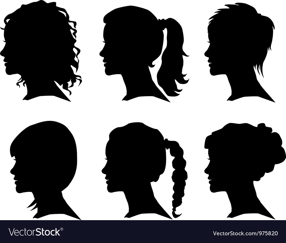 Woman silhouette with hair vector | Price: 1 Credit (USD $1)