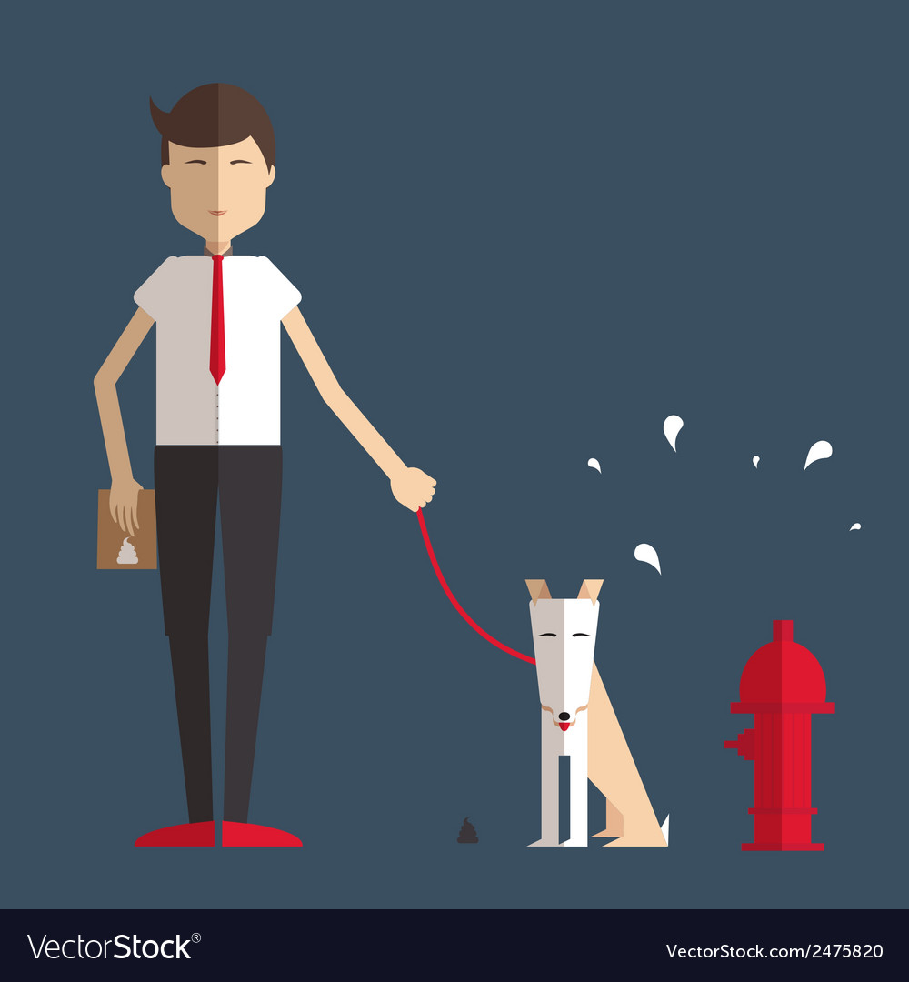 Young man walking a dog and cleans her flat style vector