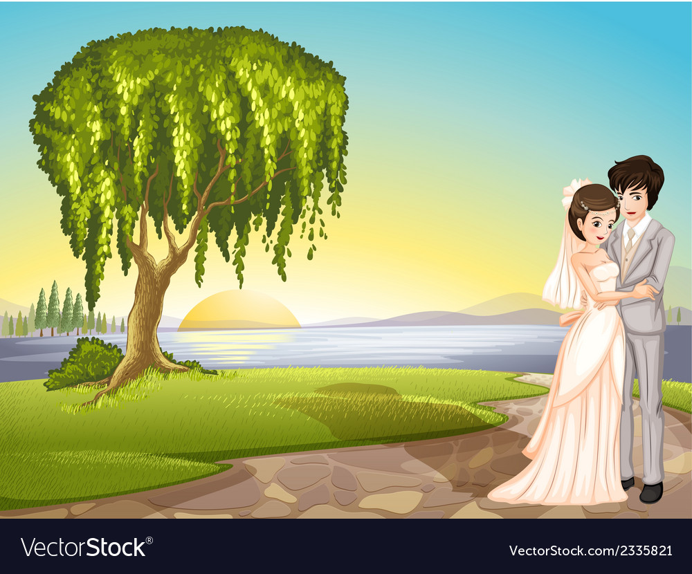 A couple across the tree vector | Price: 3 Credit (USD $3)