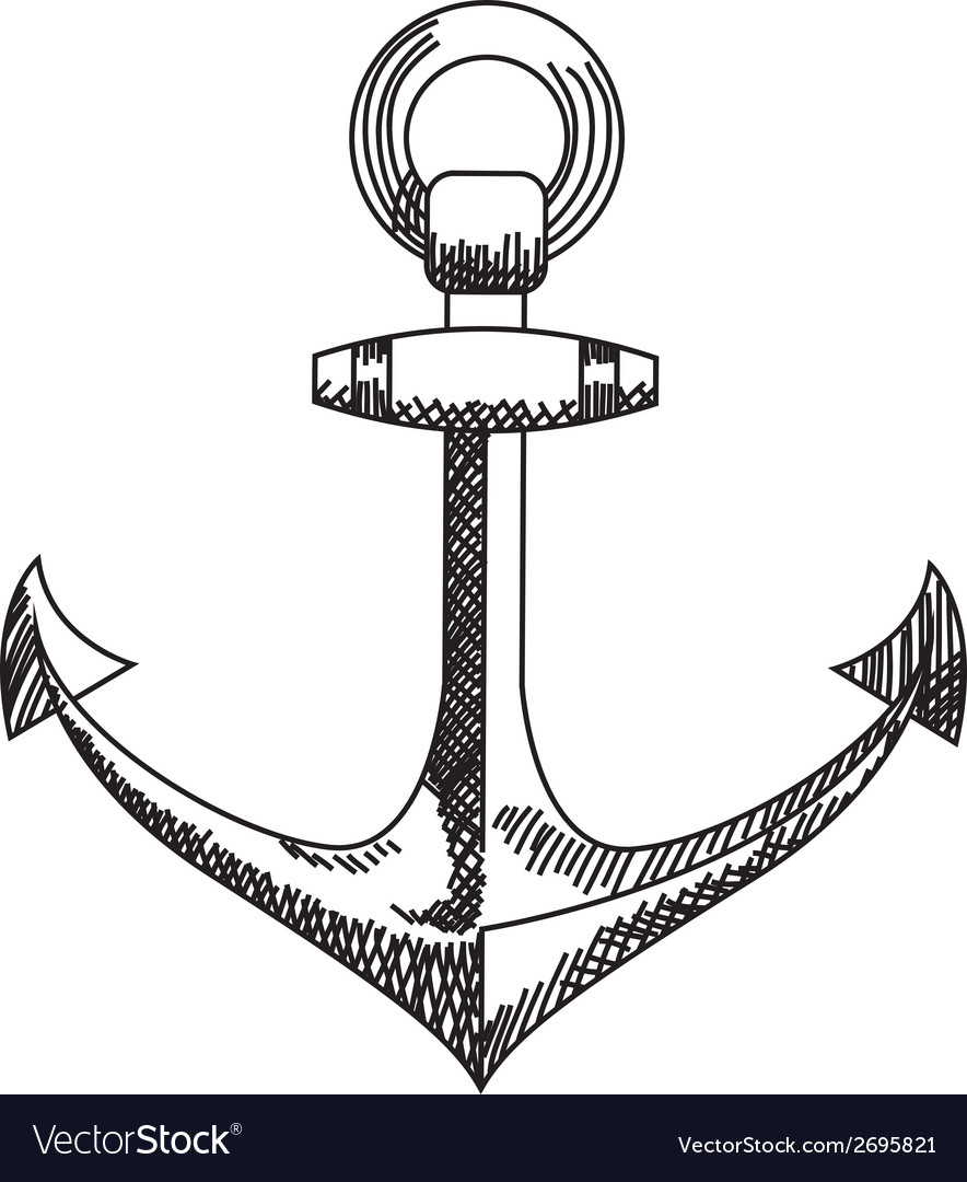 Anchor icon nautical isolated white black vector | Price: 1 Credit (USD $1)