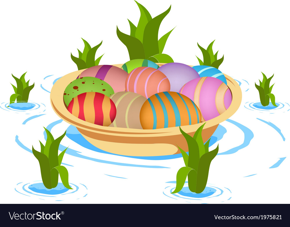 Boat carrying eggs vector | Price: 1 Credit (USD $1)