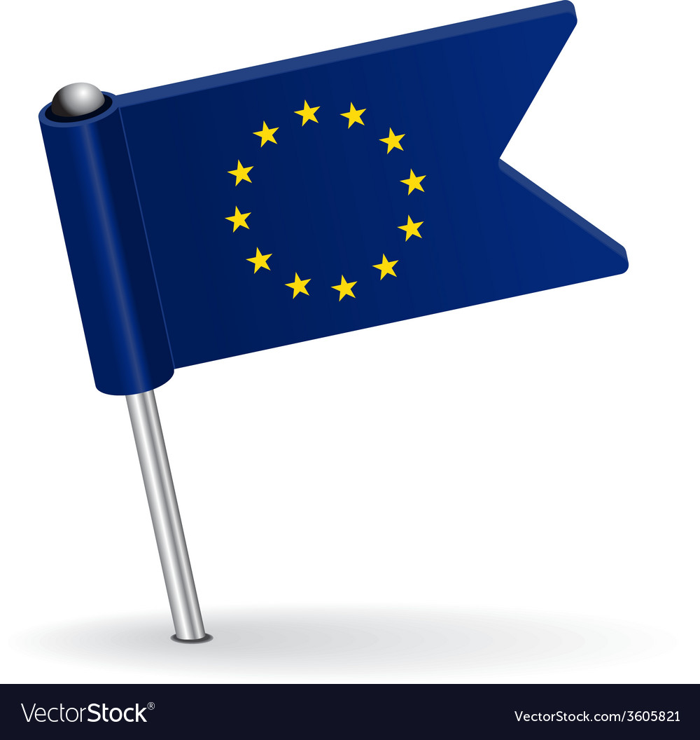 European union pin icon flag vector   Price: 1 Credit (USD $1)