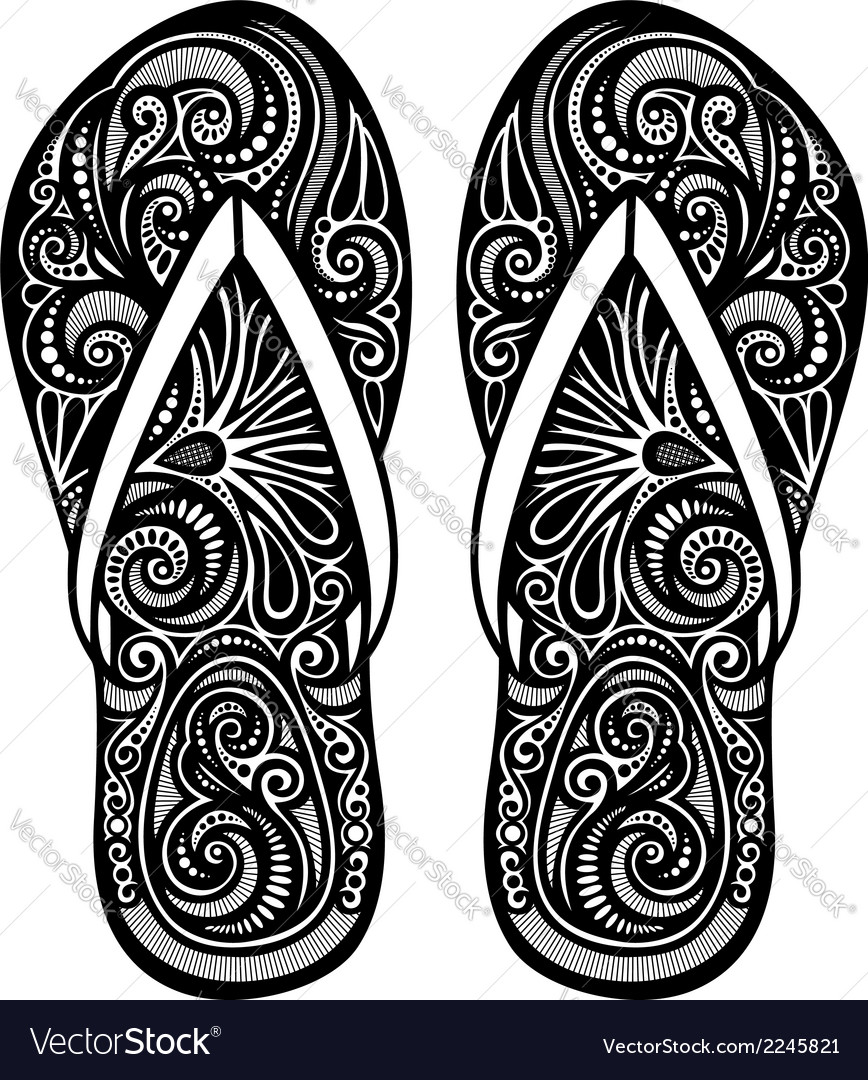 Ornate women s slippers vector | Price: 1 Credit (USD $1)