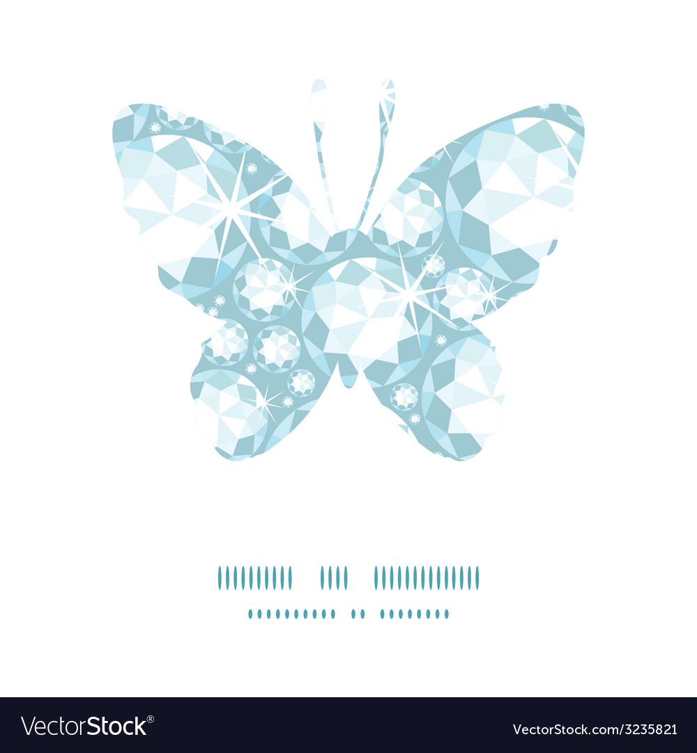 Shiny diamonds butterfly silhouette pattern frame vector | Price: 1 Credit (USD $1)