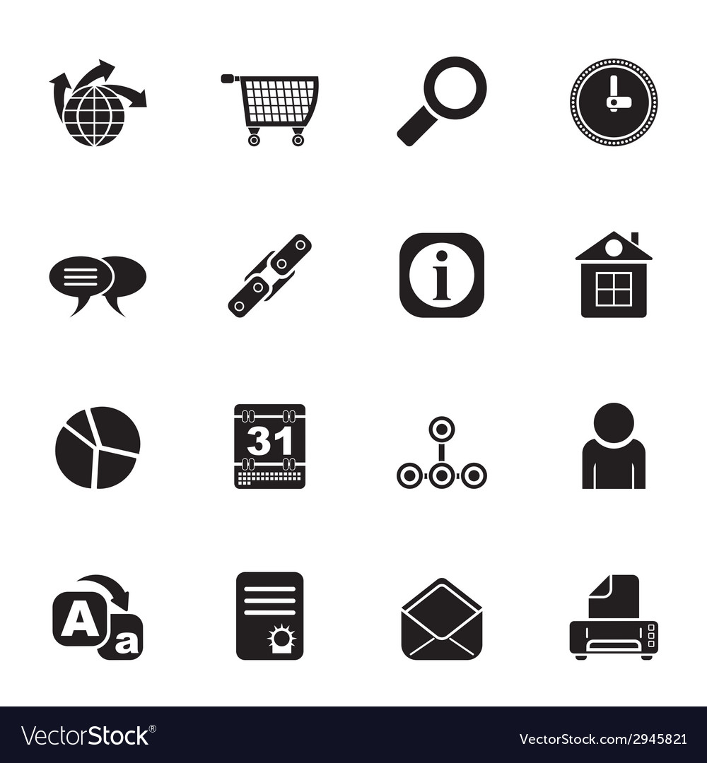 Silhouette internet and computer icons vector | Price: 1 Credit (USD $1)