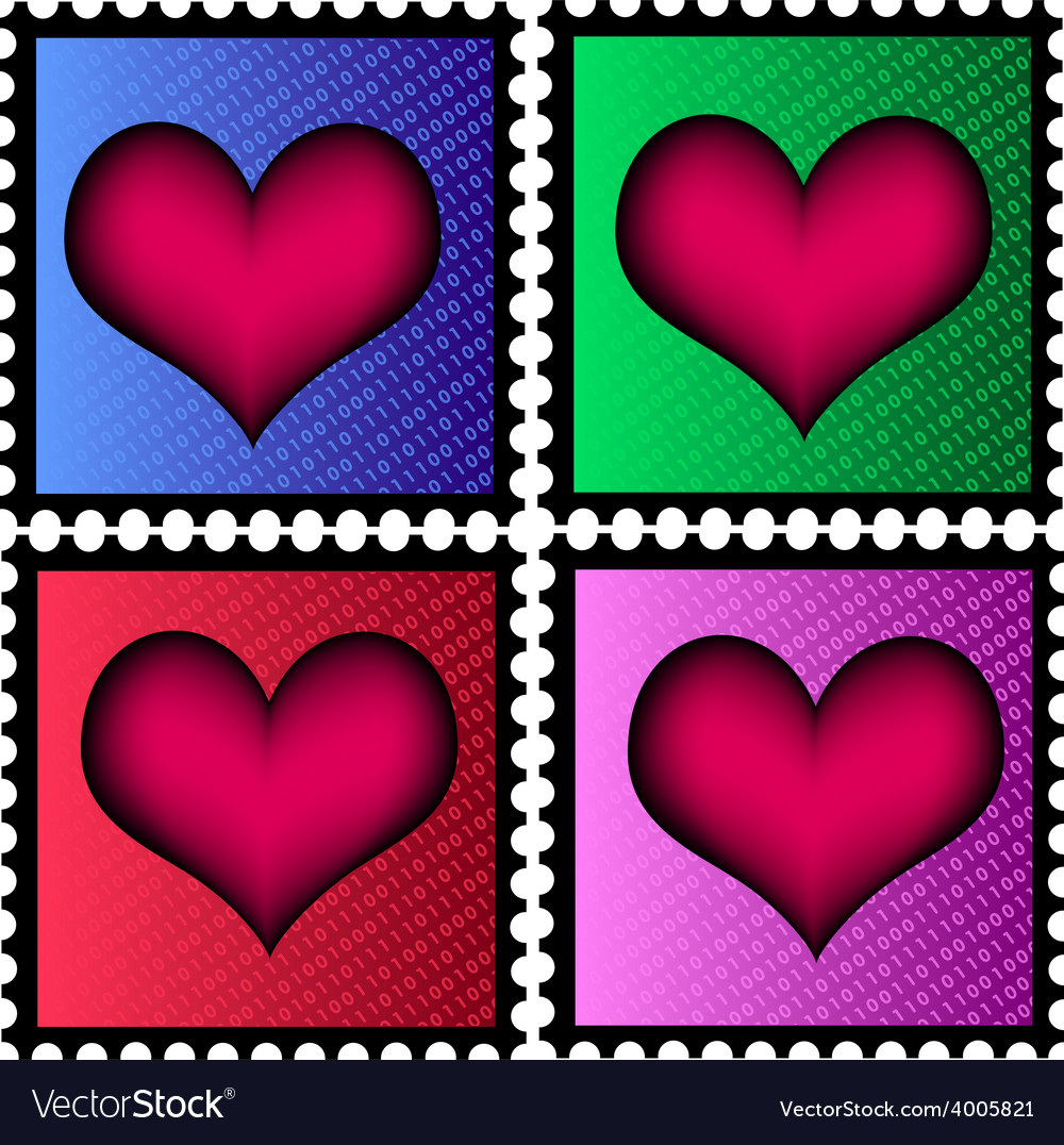 Stamps with heart vector | Price: 1 Credit (USD $1)