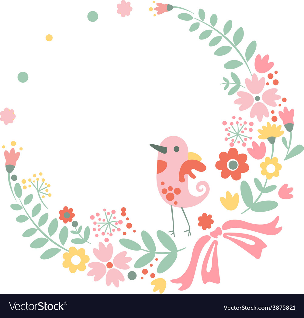 Vintage floral background with cute bird in pastel vector | Price: 1 Credit (USD $1)