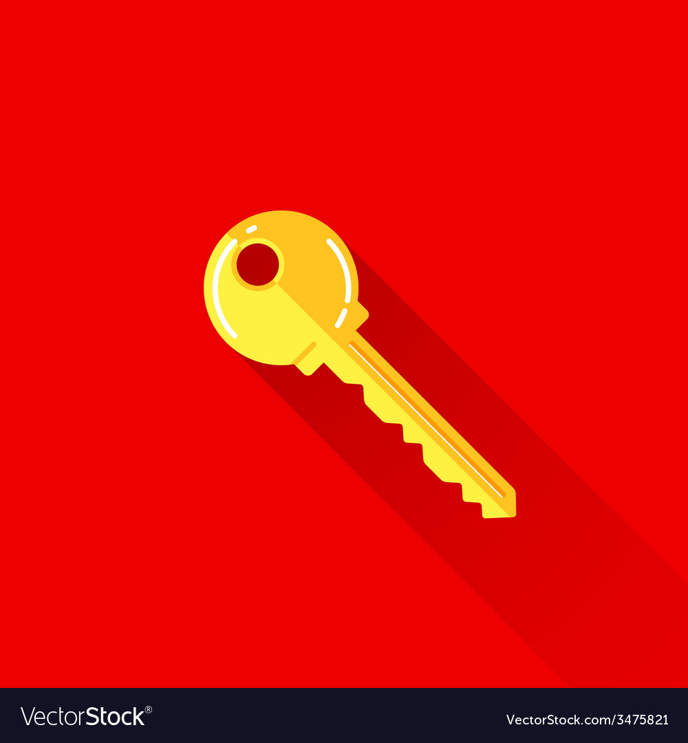 Vintage of a key in flat style with long shadow vector | Price: 1 Credit (USD $1)
