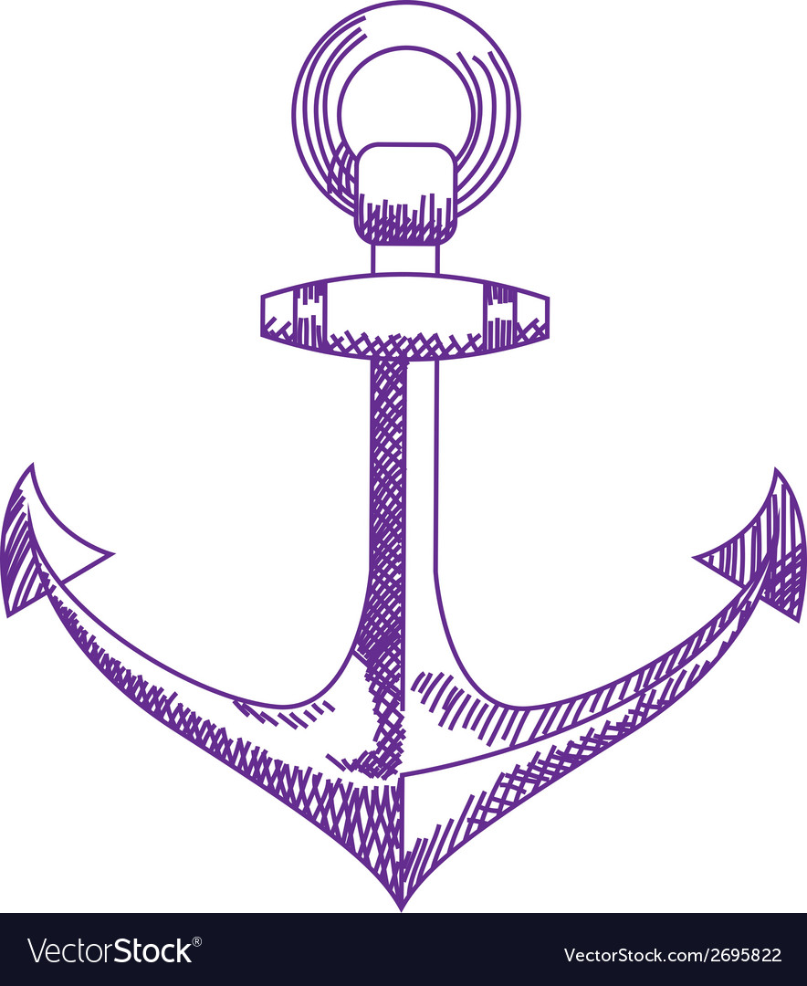 Anchor icon nautical isolated white purple vector | Price: 1 Credit (USD $1)
