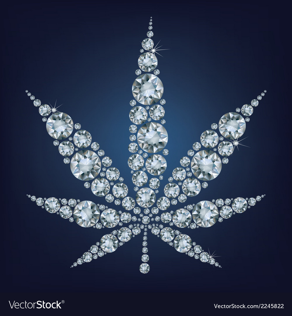 Cannabis leaf made a lot of from diamonds vector | Price: 1 Credit (USD $1)