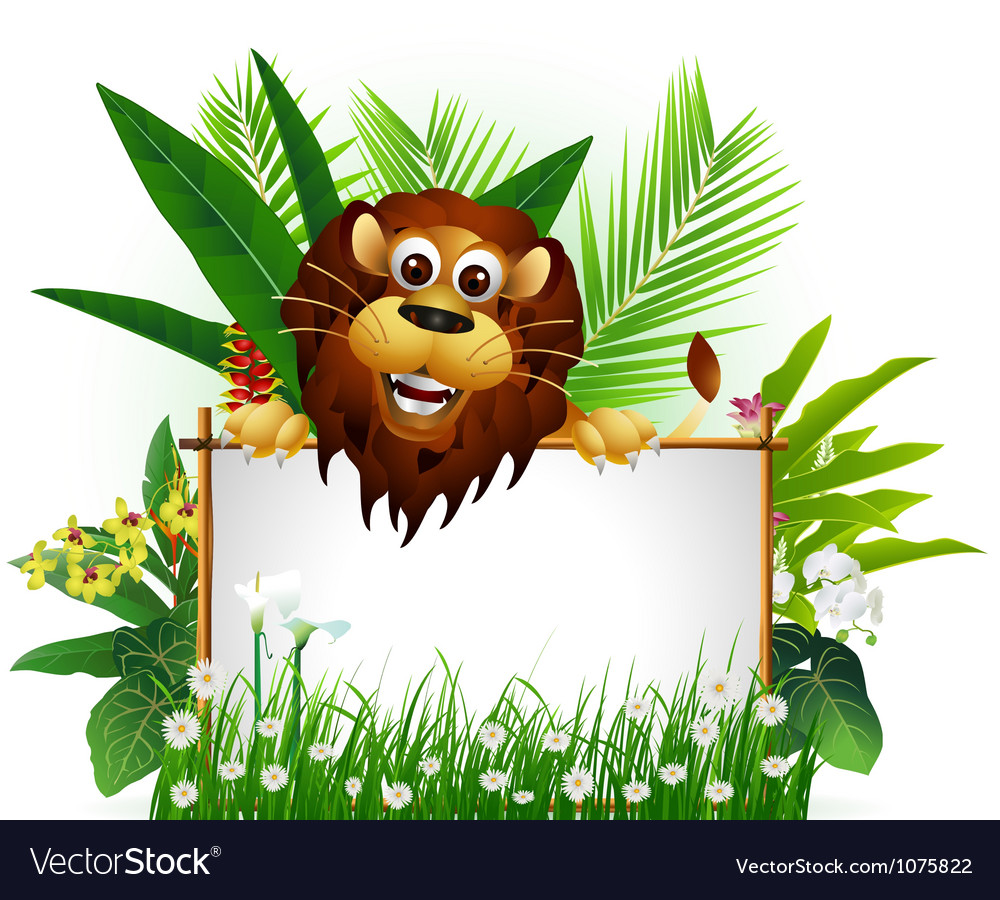 Funny brown lion with blank sign vector | Price: 3 Credit (USD $3)