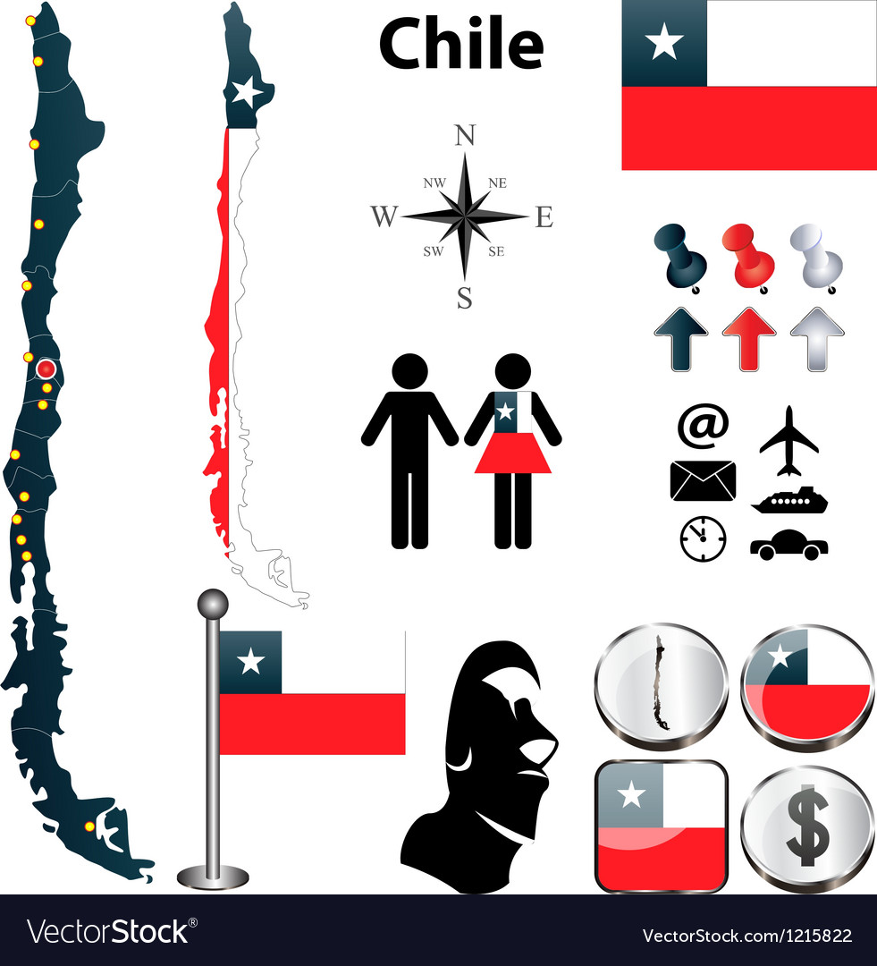 Map of chile vector | Price: 1 Credit (USD $1)
