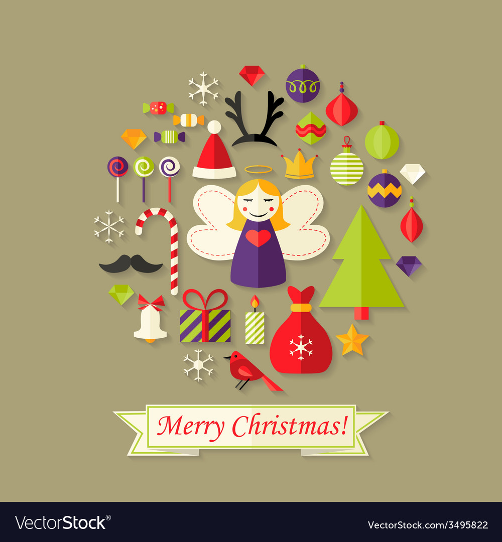 Merry christmas card with flat icons set and angel vector | Price: 1 Credit (USD $1)